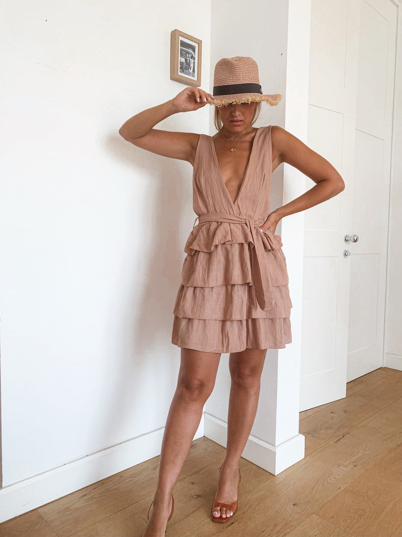 DEEP PLUNGE DRESS WITH EXTREME FRILLS - LE TRE