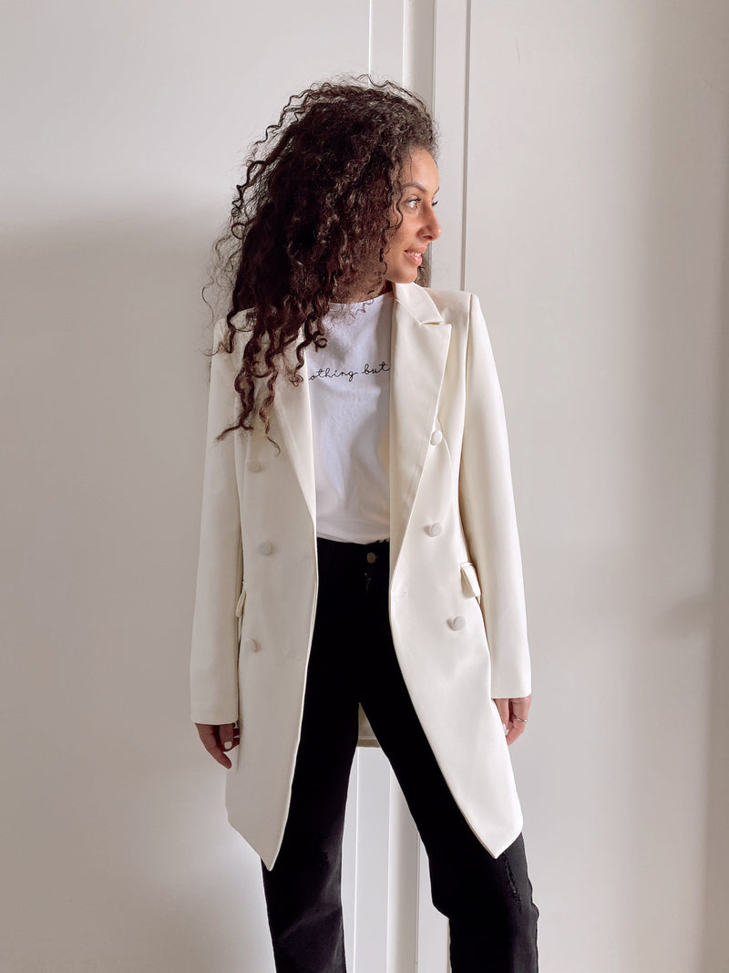 DOUBLE BREASTED BLAZER IN CREAM - Coats & Jackets - Shop Fashion at LE TRÉ