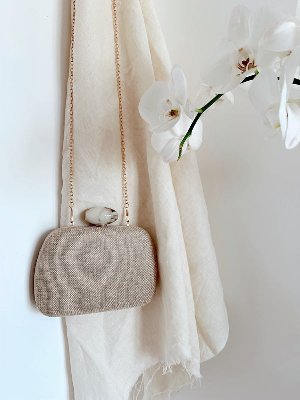 EVENING BAG WITH STONE CLOSING - Accessories - Shop Fashion at LE TRÉ