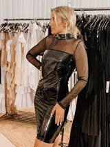 FAUX LEATHER DRESS MESH SLEEVES - Shop Fashion at LE TRE