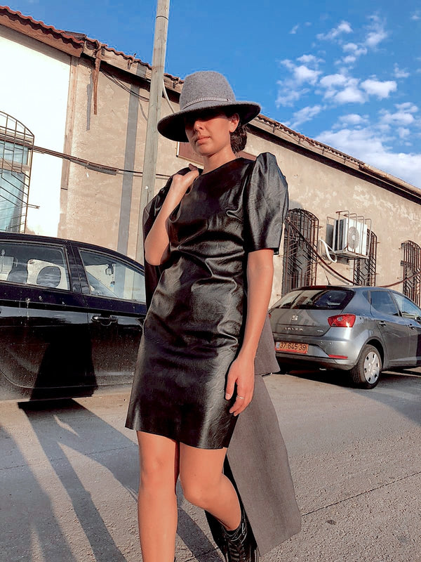 FAUX LEATHER DRESS WITH PUFF SLEEVES - Dress - Shop Fashion at LE TRÉ