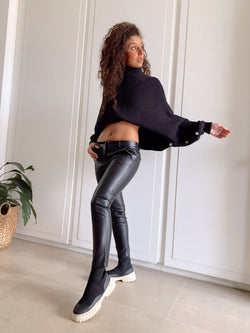 FAUX LEATHER TROUSERS Trousers LE TRÉ