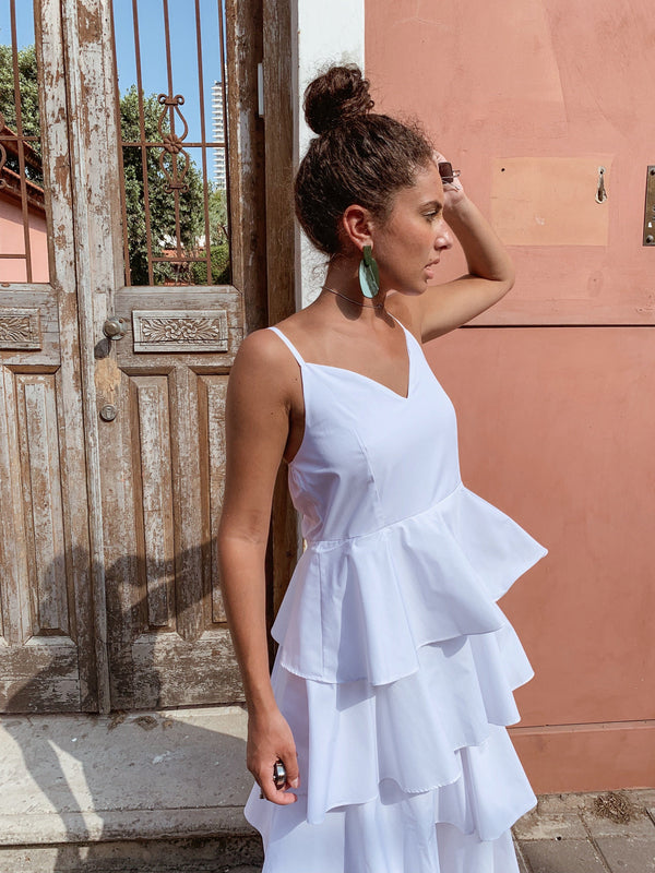 FRILL LAYER CAMI DRESS IN WHITE Dress LE TRÉ