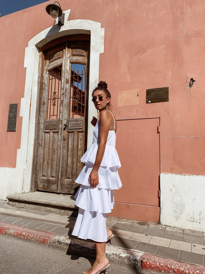 FRILL LAYER CAMI DRESS IN WHITE - Dress - Shop Fashion at LE TRÉ