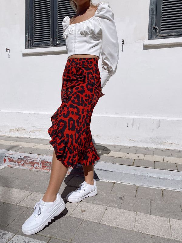 FRILL MIDI SKIRT IN LEOPARD PRINT - Skirt - Shop Fashion at LE TRÉ