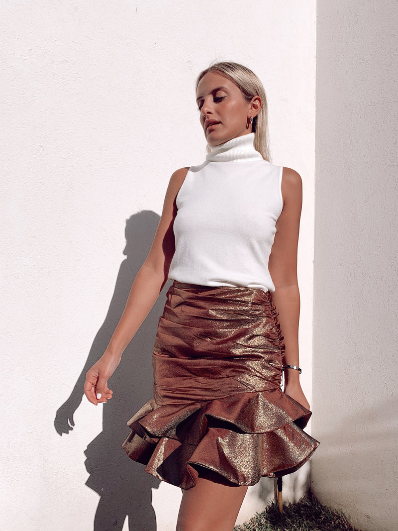 FRILL SKIRT WITH RUCHED DETAIL Skirt LE TRÉ