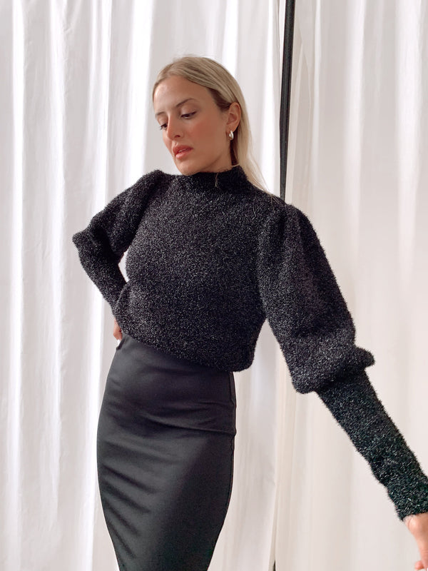 GLITTER KNIT WITH HIGH NECK - LE TRE
