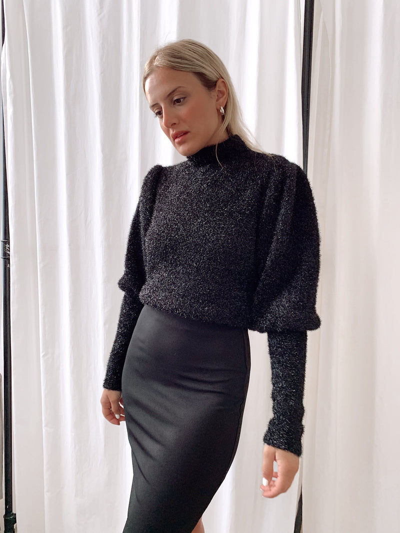 GLITTER KNIT WITH HIGH NECK - Knitwear - Shop Fashion at LE TRÉ