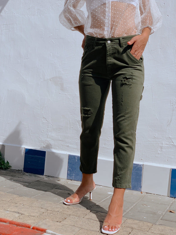 GREEN POCKET JEANS WITH RIPS - Jeans - Shop Fashion at LE TRÉ