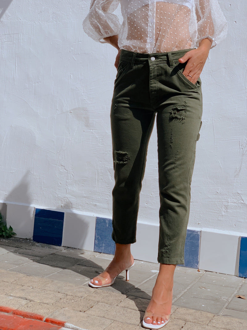 GREEN POCKET JEANS WITH RIPS Jeans LE TRÉ