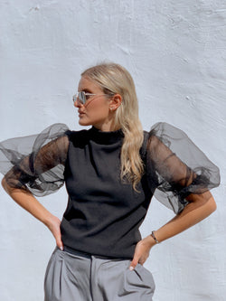 HIGH NECK KNIT WITH OVER PUFF SLEEVES - Knitwear - Shop Fashion at LE TRÉ