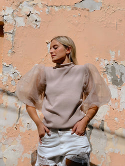 HIGH NECK KNIT WITH OVER PUFF SLEEVES Knitwear LE TRÉ