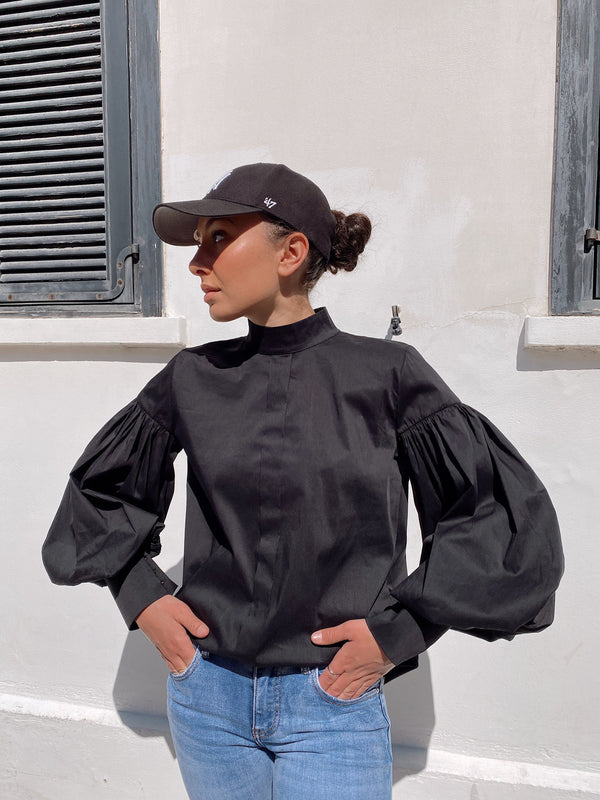 HIGH NECK TOP WITH PUFF SLEEVE - Top - Shop Fashion at LE TRÉ