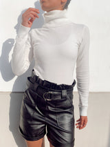 HIGH WAIST BELTED SHORTS IN FAUX LEATHER - Trousers - Shop Fashion at LE TRÉ