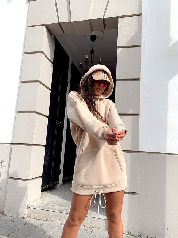 HOODIE SWEATER TUNIC DRESS IN CAMEL Dress LE TRÉ
