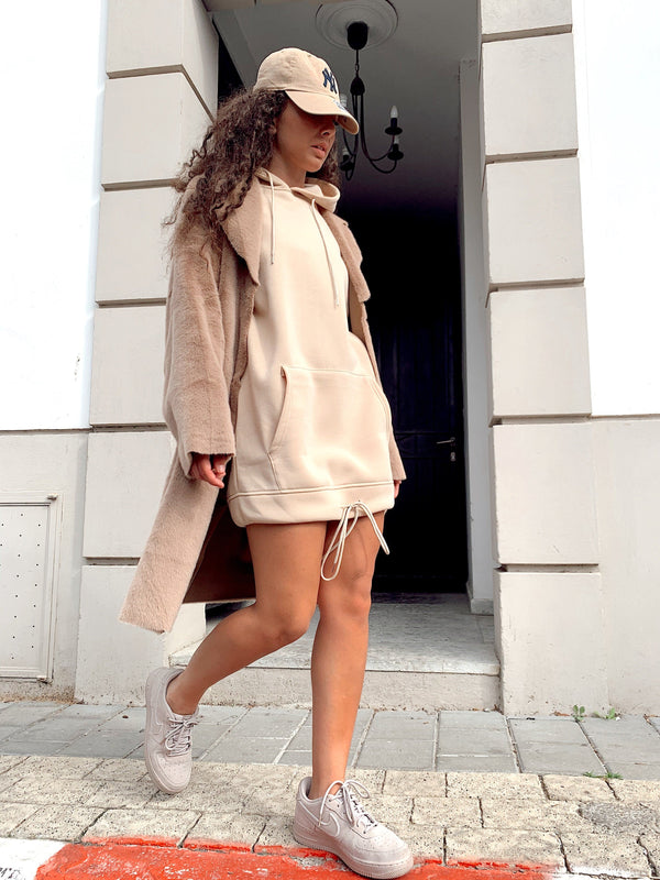 HOODIE SWEATER TUNIC DRESS IN CAMEL - Dress - Shop Fashion at LE TRÉ