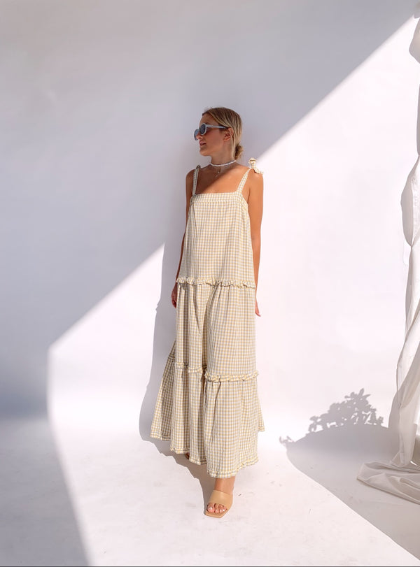 MAXI DRESS WITH TIE SLEEVES