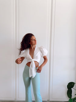 WRAP TOP WITH BALOON SLEEVES - Top - Shop Fashion at LE TRÉ