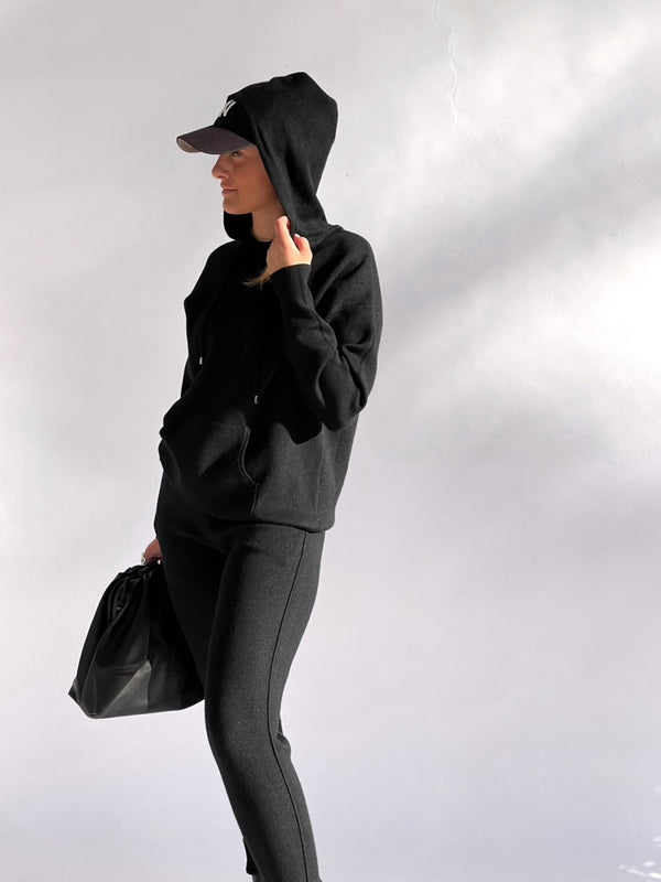 KNITTED HOODIE WITH MATCHING JOGGERS IN BLACK