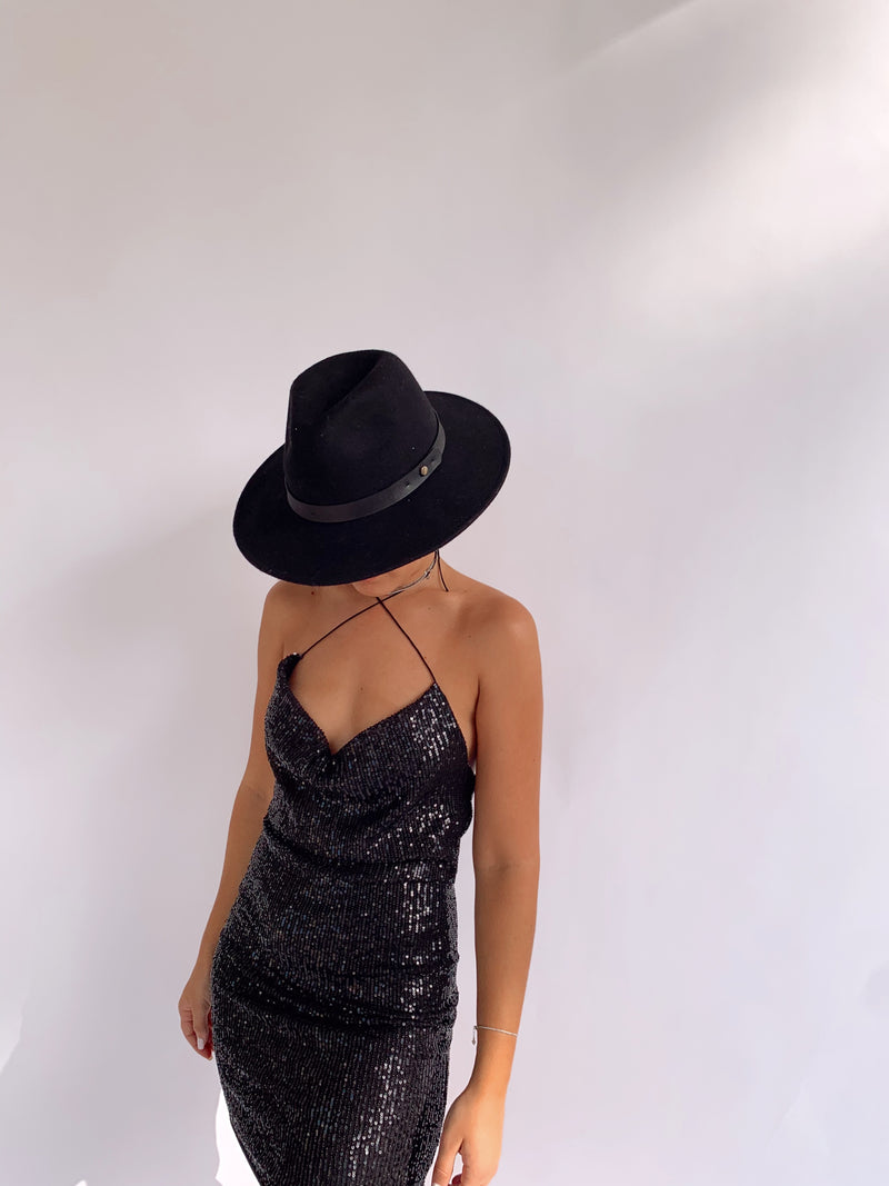 SEQUIN DRESS WITH COWL NECK AND OPEN BACK