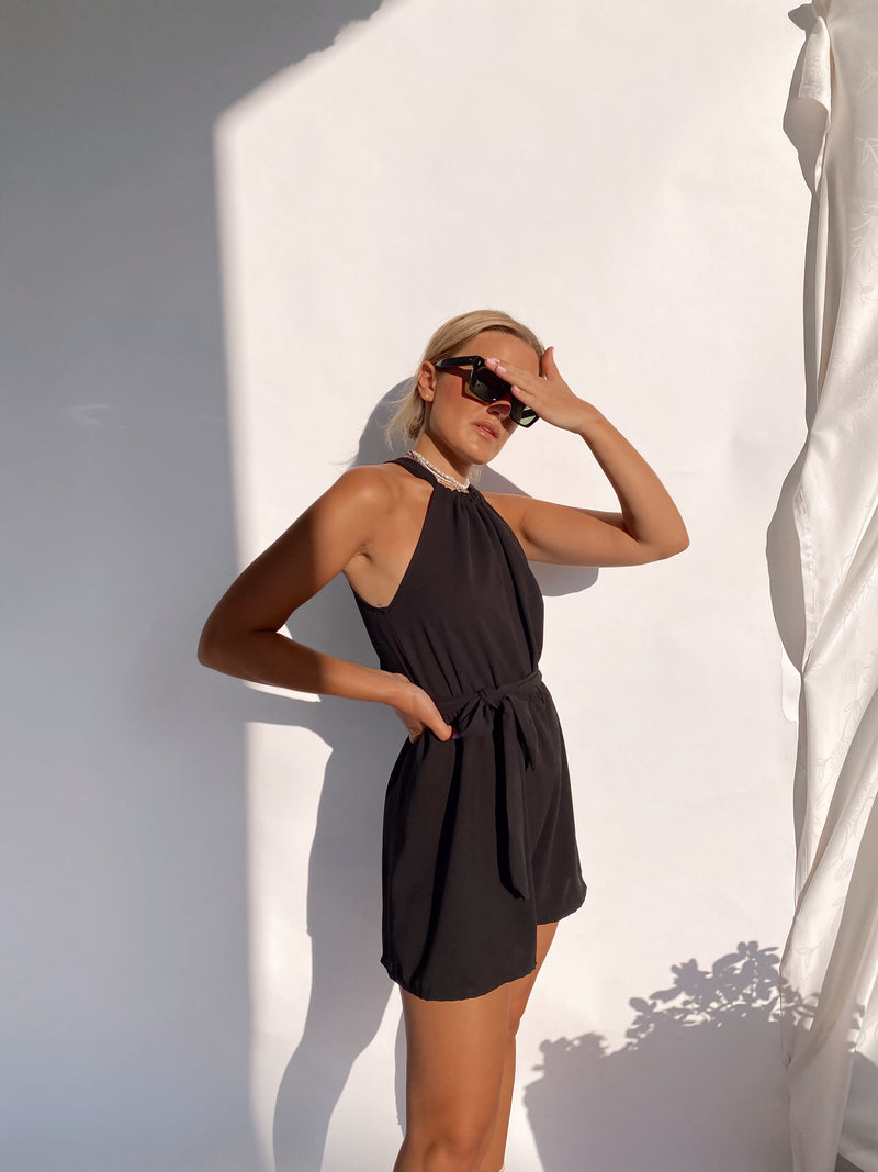 PLAYSUIT WITH TIE NECK IN BLACK