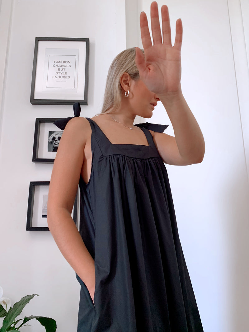 TIE SLEEVE CAMI DRESS IN BLACK - Dress - Shop Fashion at LE TRÉ