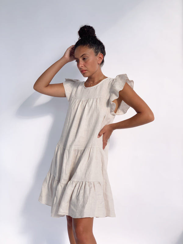 FRILL SLEEVE TIERED SMOCK DRESS IN LIGHT BEIGE