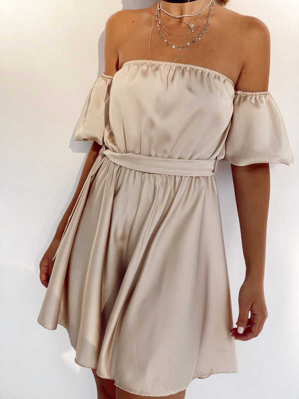 OFF SHOULDER SATIN PLAYSUIT