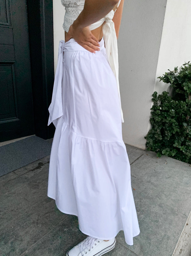 WRAP MAXI SKIRT WITH TIE FRONT AND FRILL DETAIL - Skirt - Shop Online at LE TRÉ