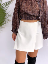 WRAP FRONT SKORT IN WHITE