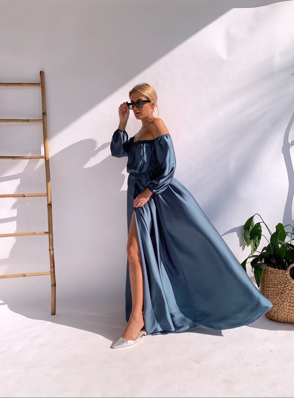 OFF SHOULDER MAXI DRESS WITH SIDE SPLIT