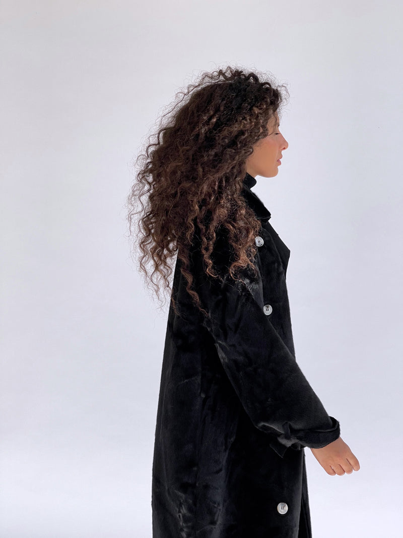 FAUX FUR TRENCH COAT IN BLACK