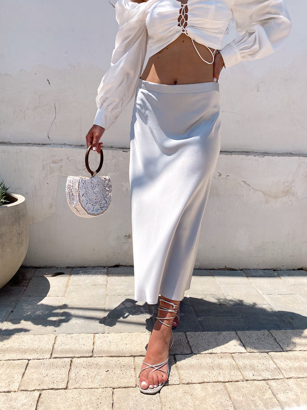 SATIN MIDI SKIRT IN LIGHT GREY - Skirt - Shop Fashion at LE TRÉ