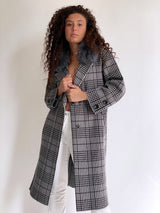 LONGLINE KNIT COAT IN CHECKED