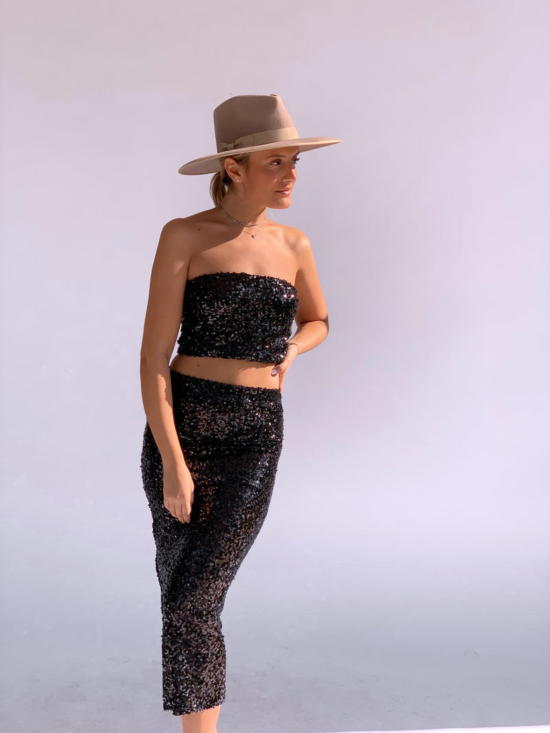 SEQUIN BANDEAU CROP TOP WITH MATCHING MIDI SKIRT