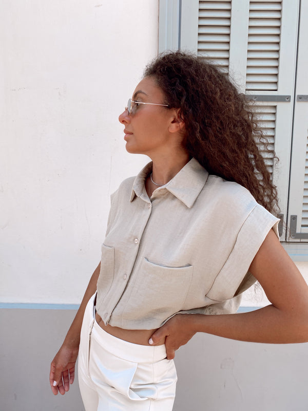OVERSIZED CROP SHIRT - Top - Shop Fashion at LE TRÉ