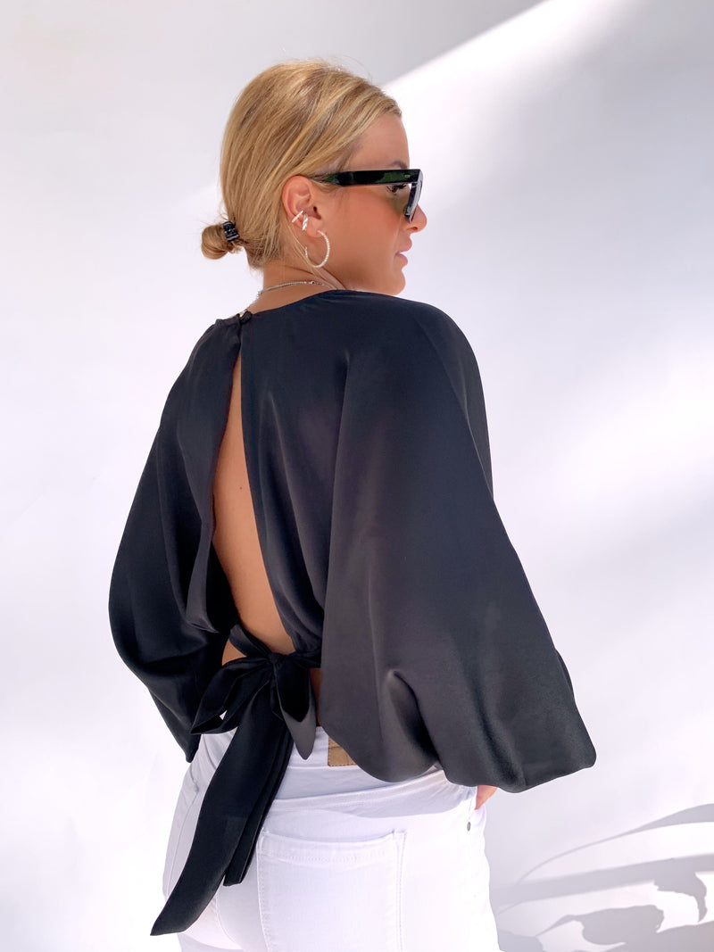 OPEN BACK TIE DETAIL BLOUSE