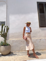 SATIN MIDI SKIRT IN LIGHT PINK - Skirt - Shop Fashion at LE TRÉ