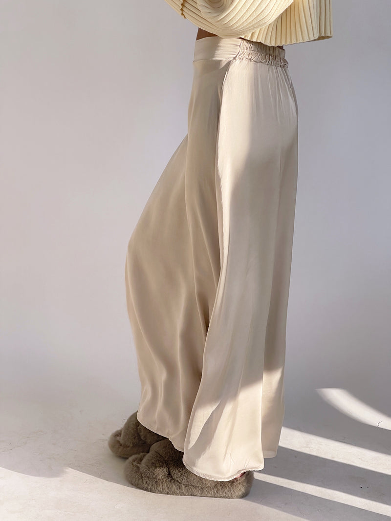 MAXI SATIN SKIRT IN LIGHT BEIGE