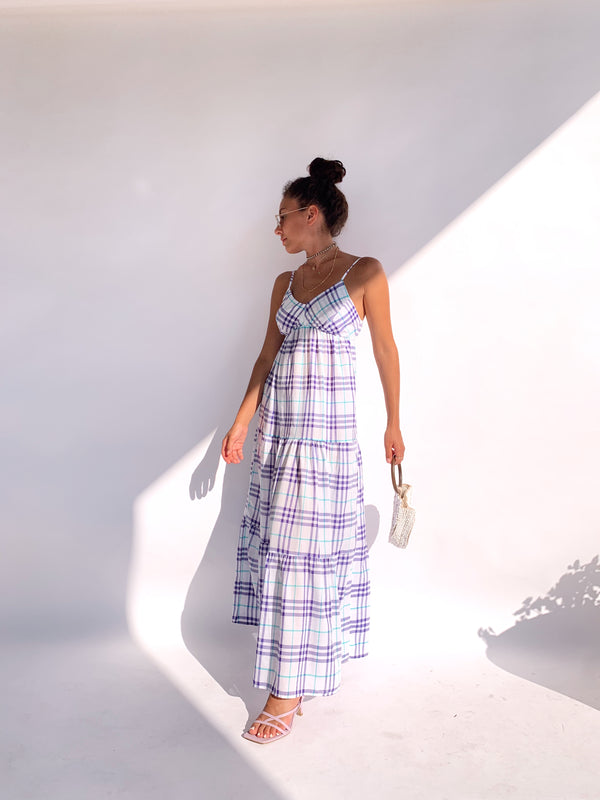 CAMI MAXI DRESS IN CHECK PRINT