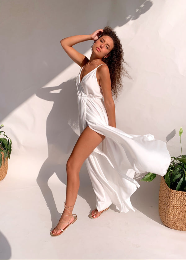SATIN CAMI MAXI DRESS IN WHITE