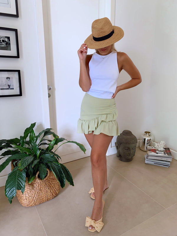 MINI WRAP SKIRT WITH FRILL