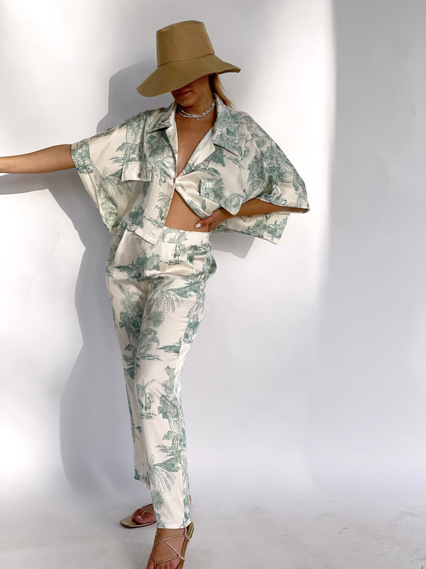 CROPPED SATIN SHIRT WITH MATCHING WIDE LEG TROUSER IN GREEN PRINT