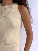 SLEEVELESS KNIT WITH MATCHING SHORTS
