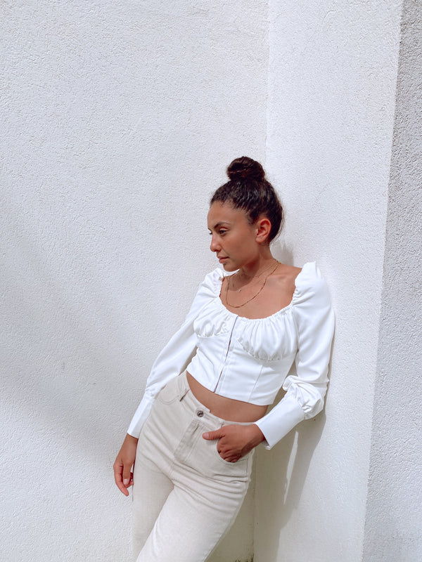 WHITE CROP TOP WITH RUCHED BUST - LE TRE