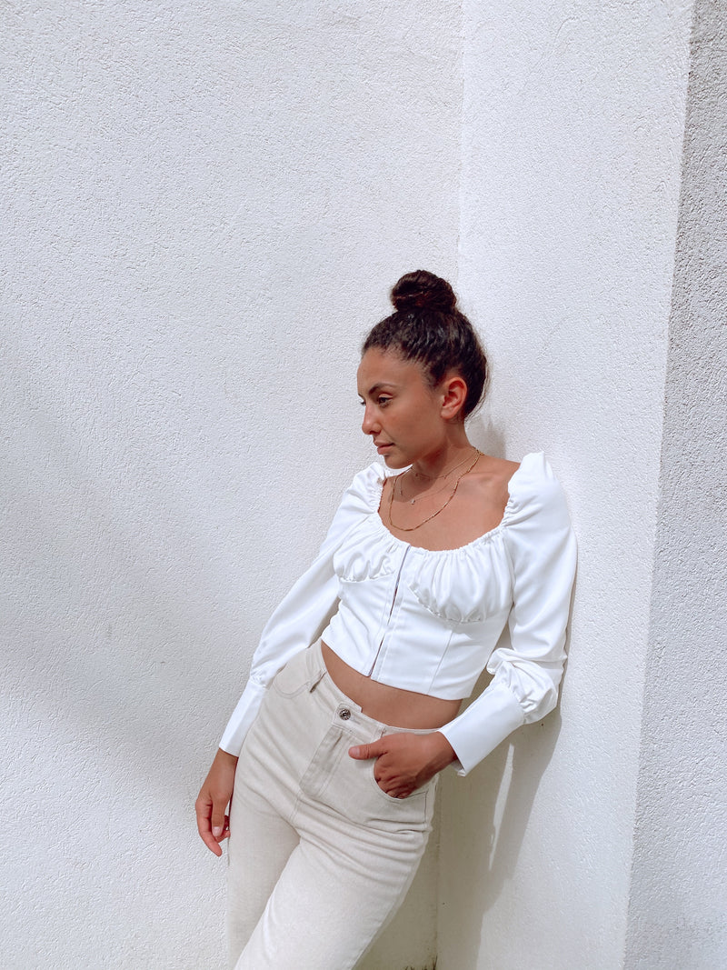 WHITE CROP TOP WITH RUCHED BUST - Top - Shop Fashion at LE TRÉ