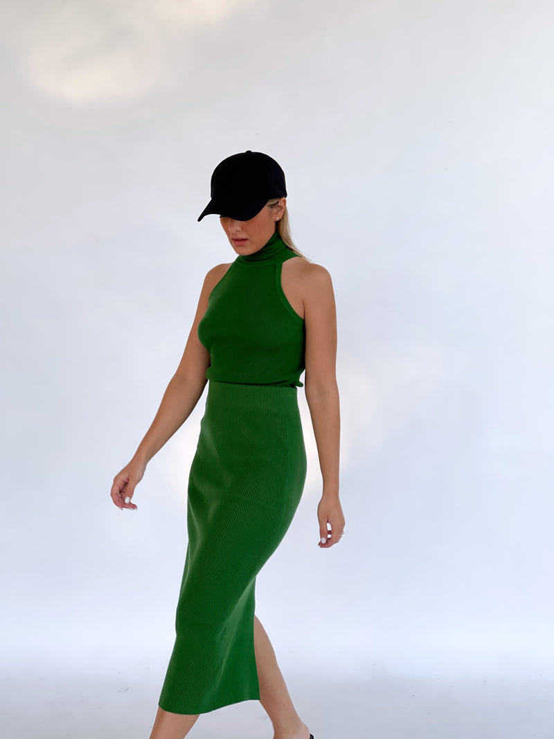 ROLL NECK WITH MATCHING MIDI SKIRT IN GREEN