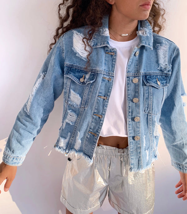 DENIM JACKET WITH RIPS