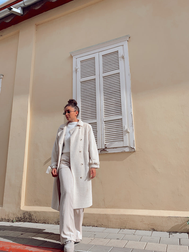 FAUX FUR TRENCH COAT IN WHITE - Coats & Jackets - Shop Fashion at LE TRÉ
