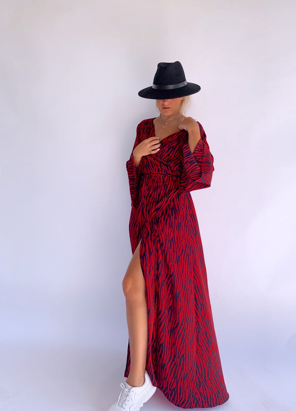 RED DRESS IN ZEBRA PRINT - Shop Fashion at LE TRE